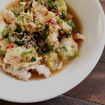 鶏肉と白菜の生姜蒸し